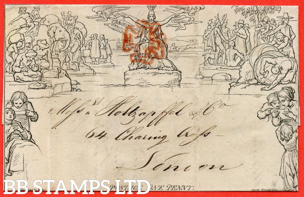 """SG. ME1j. 1d Mulready lettersheet. Stereo """" A70 Forme 4 """". A good used example from SHEFFIELD to LONDON dated 3rd January 1841."""
