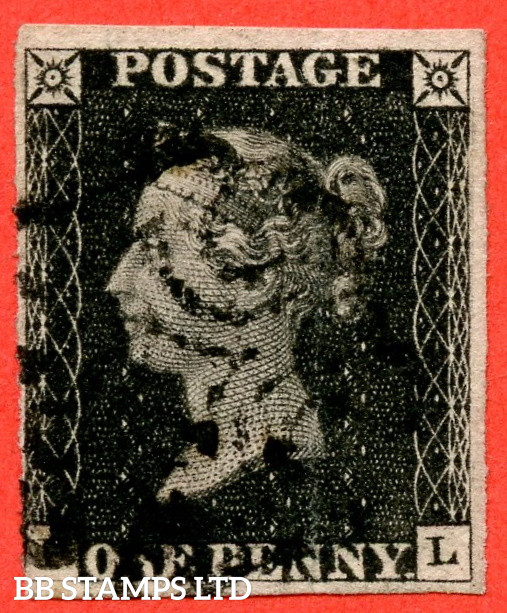 """SG. 2. A1 (2). AS5. """" PL """". 1d Black. Plate 1b. A fine used example with the """" Ray Flaws 10 / 7 NW Square. Burr rub to base line and guide dot outside SE corner """" varieties. Faults but s good spacefiller."""