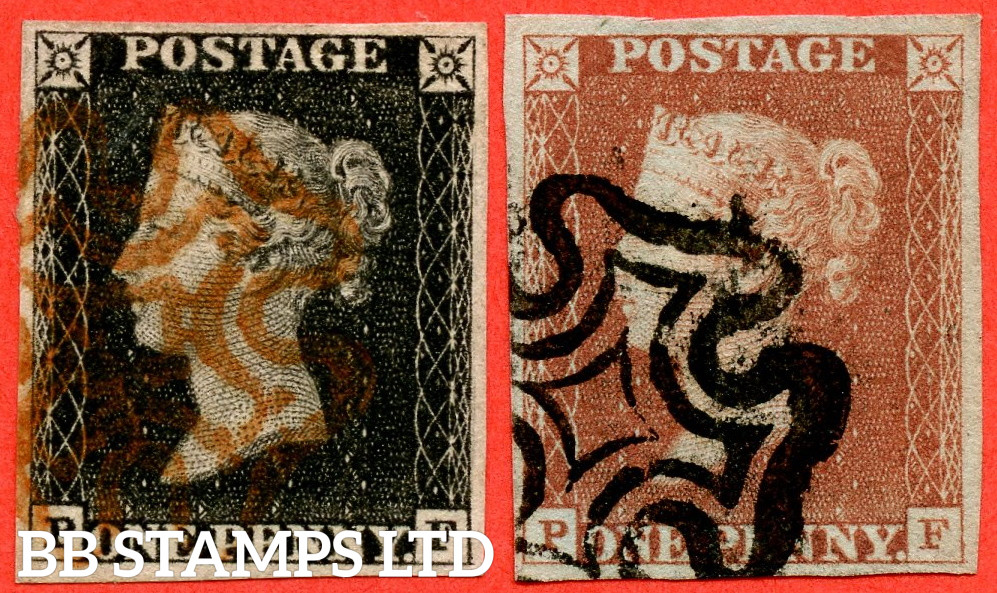 """SG. 2 & 7. A1 (2) & A2. AS5 h & AS7. """" PF """". Plate 1b. A fine used matched pair with the listed variety """" Left side line recut """". Also """" Ray Flaws 10 / 7 NW Square and bottom line extends right """" varieties."""