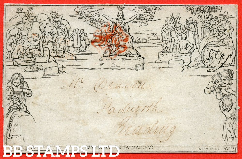 """SG. ME1. 1d Mulready lettersheet. Stereo """" A31 """". Substitute stereo on Forme 1. A fine used example from LEAMINGTON to READING dated September 1840."""
