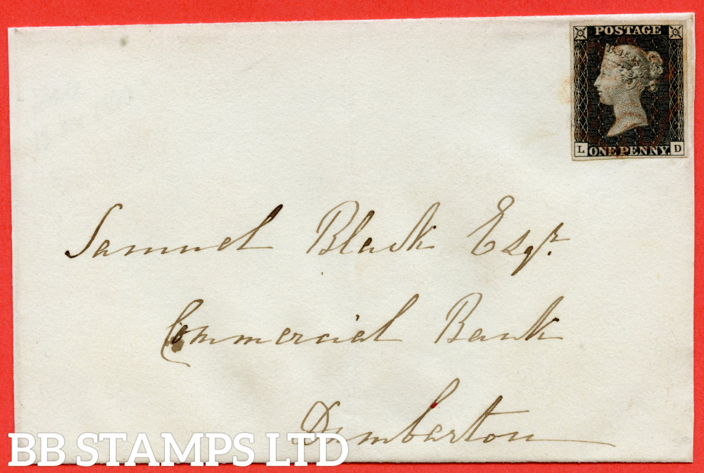 """SG. 2. A1 (2). AS14. """" LD """". 1d Black. Plate 2. A very fine used example on cover to DUMBARTON dated 12th December 1840. With the """" Ray flaws 10 / 7 """" variety."""