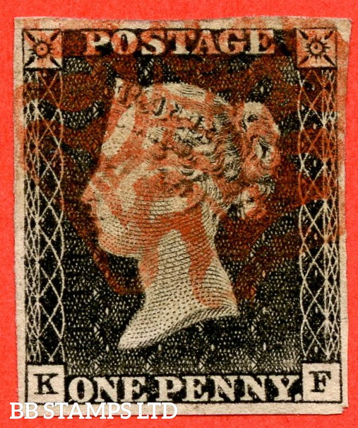 """SG. 3. A1 (3). AS2 . """" KF """". 1d Grey-Black ( worn plate ). Plate 1A. A fine used example with the """" Ray flaws 10 / 5 NW square """" variety."""