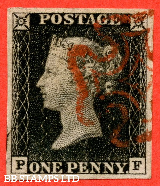 """SG. 2. A1 (2). AS5 h """" PF """". 1d Black. Plate 1b. A very fine used example with the listed variety """" Left side line recut """". Also """" Ray Flaws 10 / 7 NW Square and bottom line extends right """" varieties."""