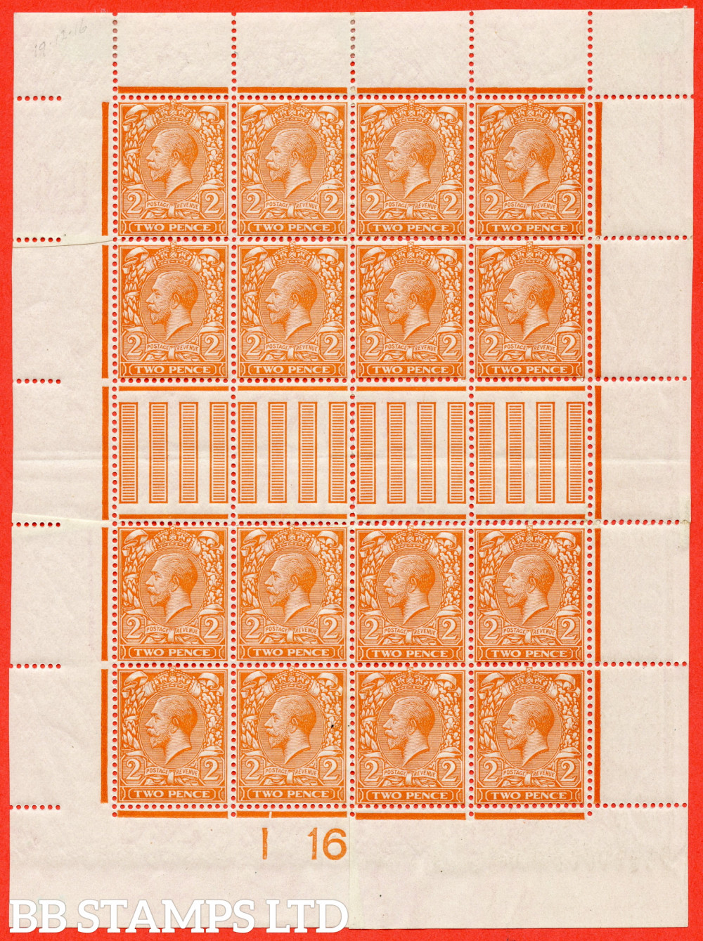 """SG. 369. N19 (7). 2d Bright Orange. Die 1. A fine mounted mint control """" I16 imperf """" made up mini sheet to resemble a complete sheet. A nice addition to any GV collection"""