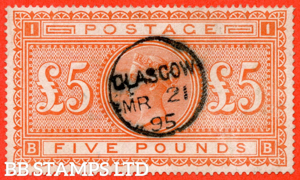 """SG. 137. J128a. """" BB """". £5.00 Orange. A very fine """" 21st March 1895 GLASGOW """" CDS used example complete with BRANDON certificate."""