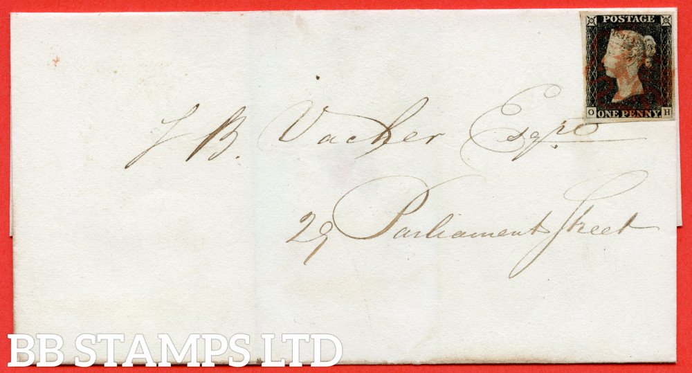 """SG. 2. A1 (2). AS14. """" OH """". 1d Black. Plate 2. A very fine used example on cover to RICHMOND STREET dated 3rd July 1840. With the """" Ray flaws 10 / 7 """" variety."""