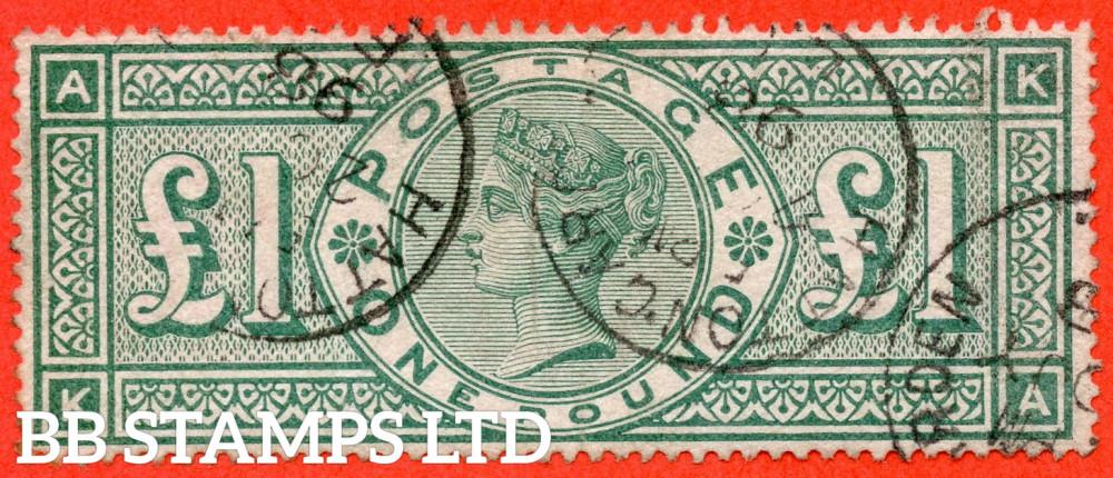 "SG. 212. K17. £1.00 Green "" KA "". A good - fine "" 1898 HATTON GARDEN "" CDS used example."