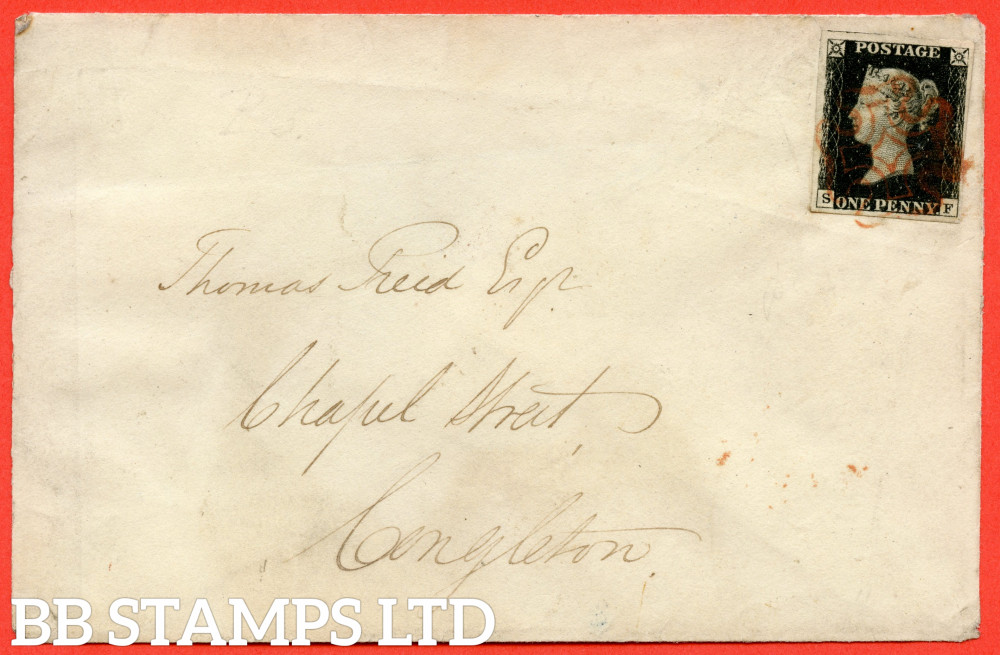 """SG. 1. A1 (1). AS24. """" SF """". 1d Intense Black. Plate 5. A very fine used example on CONGLETON cover dated 5th November 1840."""