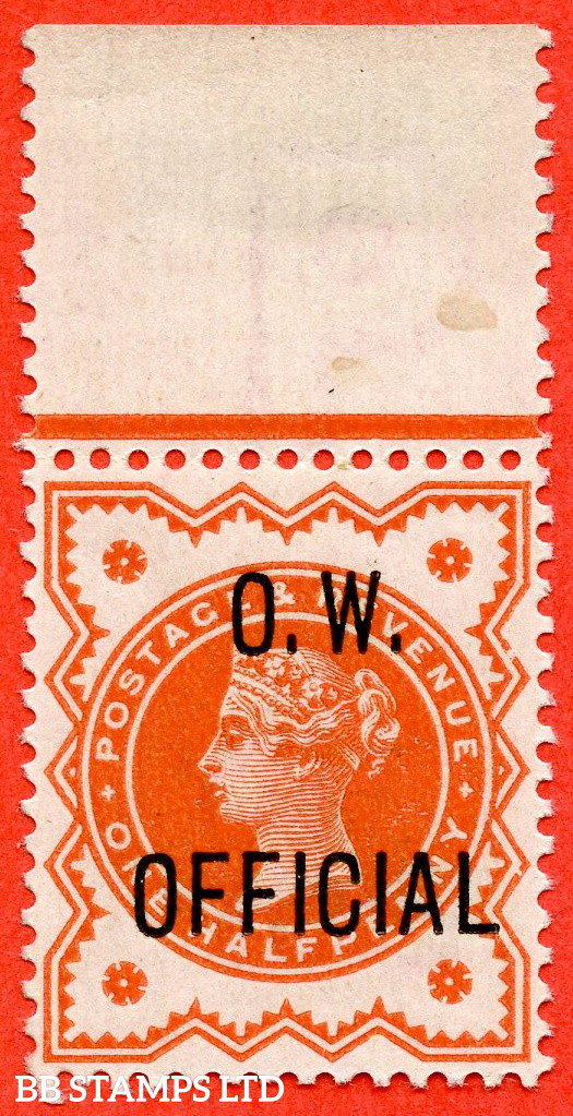 """SG. O31. L31. ½d vermilion. """" O.W. OFFICIAL """". A very fine UNMOUNTED MINT top marginal example complete with RPS certificate."""