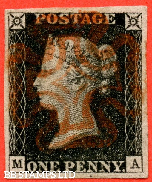 """SG. 2. A1 (2). AS5. """" MA """". 1d Black. Plate 1b. A SUPERB used example with the """" Ray Flaws 10 / 7 NW Square """" variety."""