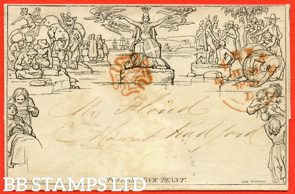 """SG. ME1f. 1d Mulready lettersheet. Stereo """" A19 Forme 2 """". A fine used example cancelled with a fine """" 24th June 1840 EXETER """" town CDS."""
