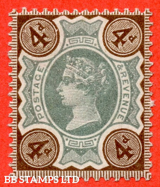 """SG. 205. K33 (1) d. 4d Green & Purple - Brown. A very fine UNMOUNTED MINT example clearly showing the listed variety """" WHITE 4 IN """" 1 """" CORNER """"."""