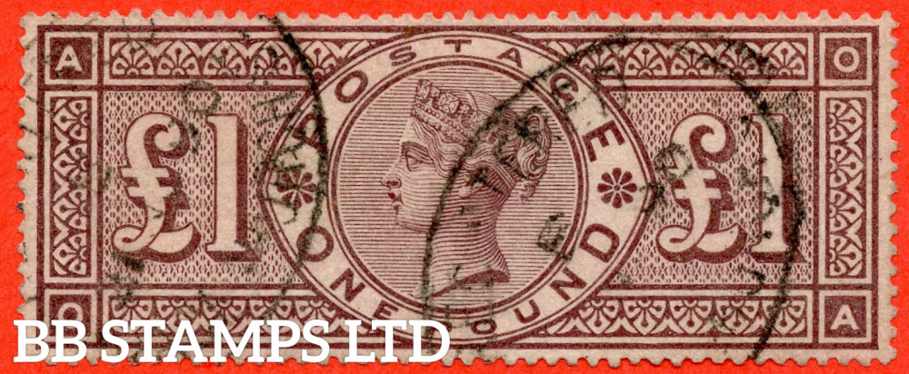 """SG. 185. K15. """" OA """". £1.00 Brown - Lilac. A fine used example."""