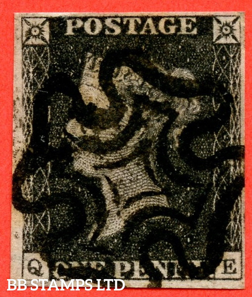 """SG. 2. A1 (2). AS5. """" QE """". 1d Black. Plate 1b. A very fine used example with the """" Ray Flaws 10 / 7 NW Square """" variety."""