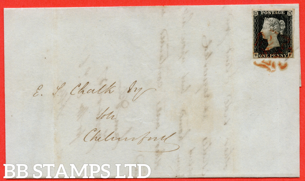 """SG. 2. A1 (2) . AS14 f. """" HF """". 1d Black. Plate 2. A very fine used example on cover from ROCHFORD to CHELMSFORD. With the  listed """" No ray flaws """" variety."""