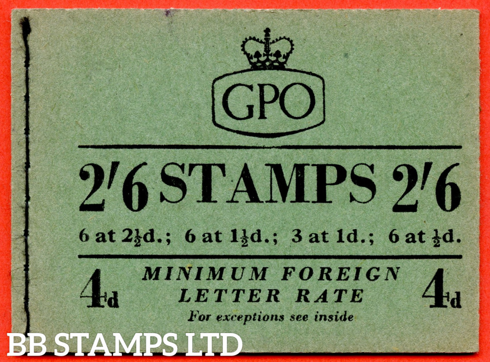 SG. F7. 2/6 1953 October. GVI and QEII Mixed. 1d Advert Pane PPR 17mm. Green Cover Type B
