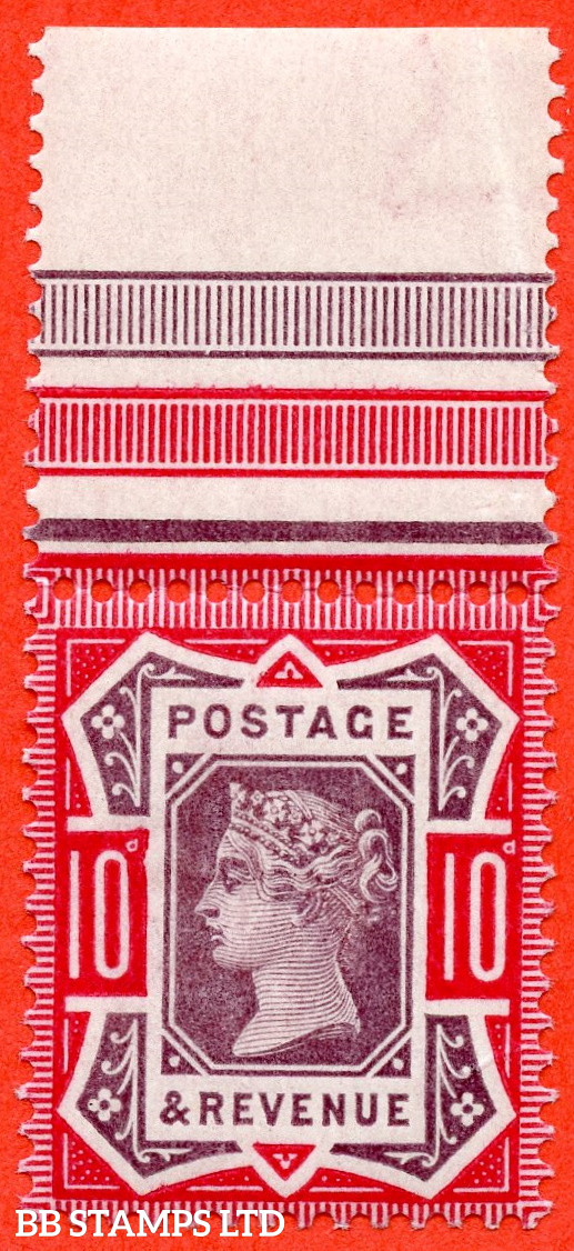 """SG. 210. K39 (1) c. 10d Dull Purple and Carmine. A fine UNMOUNTED MINT top marginal example with the listed variety """" Damaged left tablet ( Pane C. Row 1/4 ) """"."""