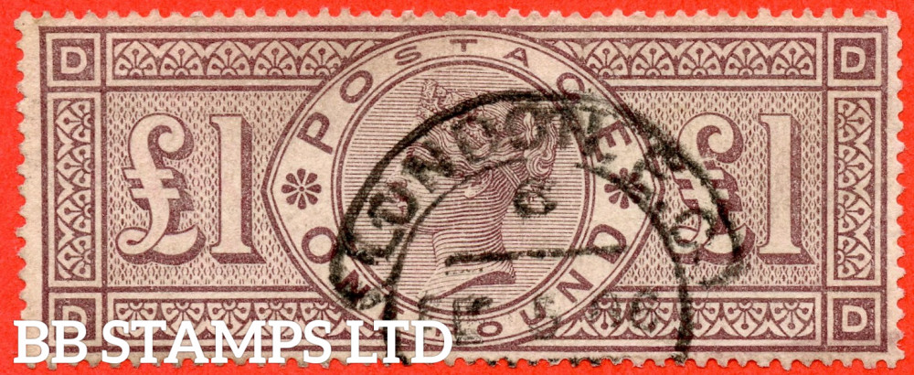 """SG. 185. K15. """" DD """". £1.00 Brown - Lilac. A fine """" LONDON """" CDS used example."""