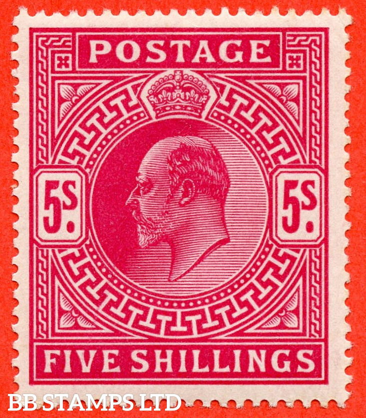 SG. 263. M51 (1). 5/- Bright Carmine. A fine UNMOUNTED MINT example of this classic Edwardian high value.