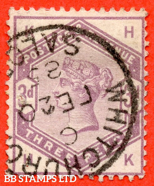 """SG. 191. K21. """" HK """". 3d Lilac. A very fine """" 20th February 1885 WHITCHURCH """" CDS used example."""