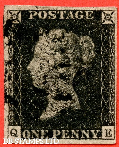 """SG. 2. A1 (2). AS5. """" QE """". 1d Black. Plate 1b. A good used example with the """" Ray Flaws 10 / 7 NW Square """" variety."""