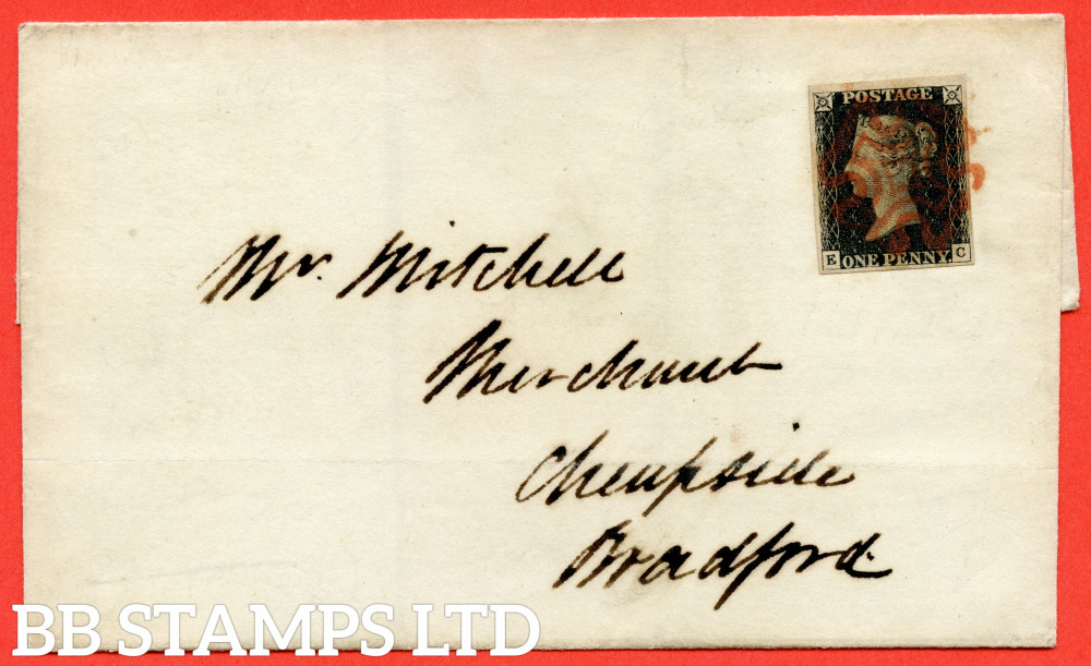 """SG. 2 c. A1 (2) h. AS41. """" EC """". 1d Black. Plate 6. A very fine used example on cover from WAKEFIELD to BRADFORD dated 16th October 1840. With the  listed """" Vertical guide line NE square """" variety."""