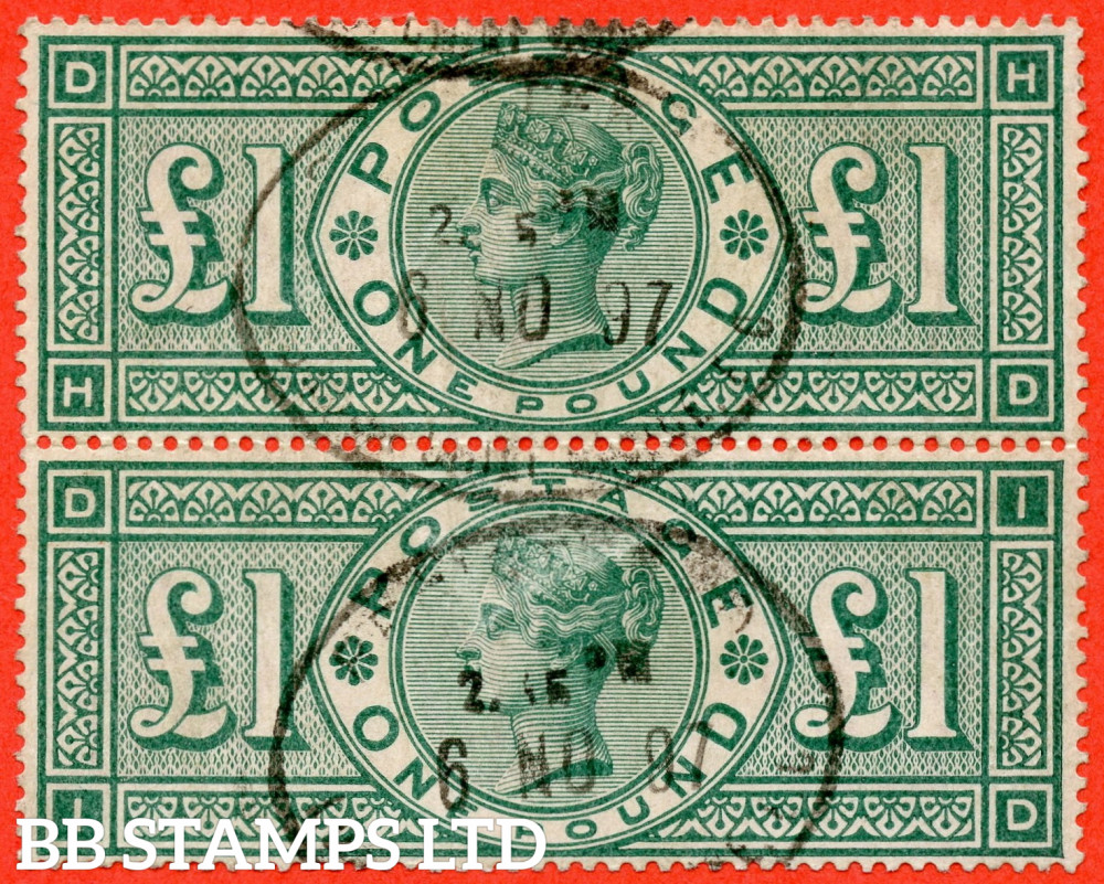 """SG. 212. K17. £1.00 Green """" HD ID """". A fine """" 6th November 1897 """" oval registered cancel used vertical pair."""