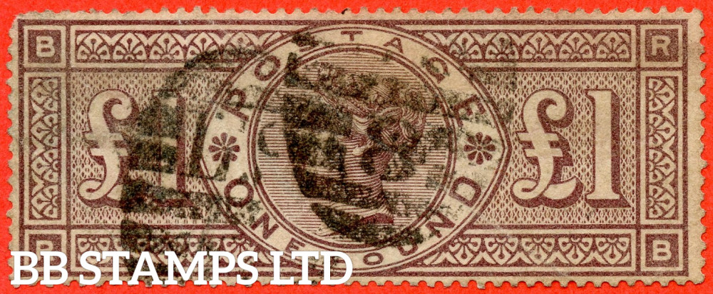 """SG. 185. K15. """" RB """". £1.00 Brown - Lilac. A good used example of this scarce Victorian high value. FAULTS but a good spacefiller."""