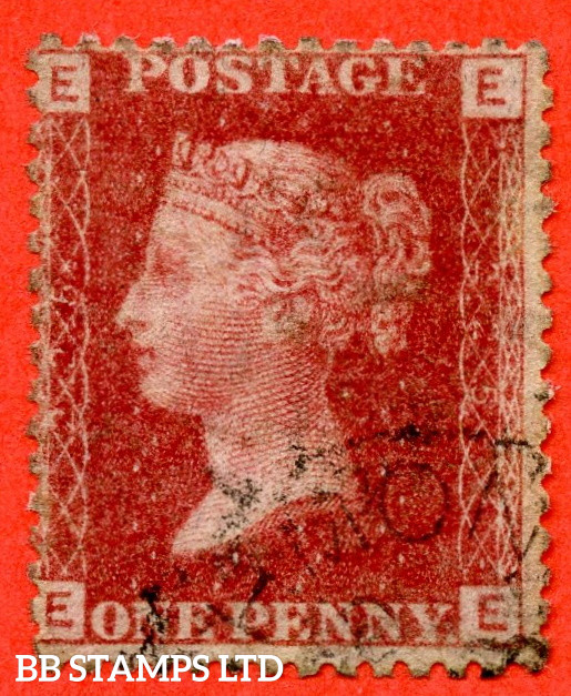 """SG. 43/44. G1. """" EE """". 1d Rose - Red plate 225.  A very fine small part CDS used example. A rare stamp to find CDS used."""