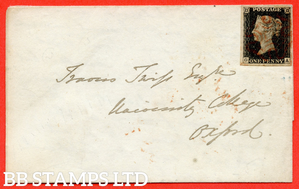 """SG. 2. A1 (2) . AS14 f. """" GA """". 1d Black. Plate 2. A very fine used example on cover from WOLVERHAMPTON to OXFORD dated 2nd July 1840. With the  listed """" No ray flaws """" variety."""