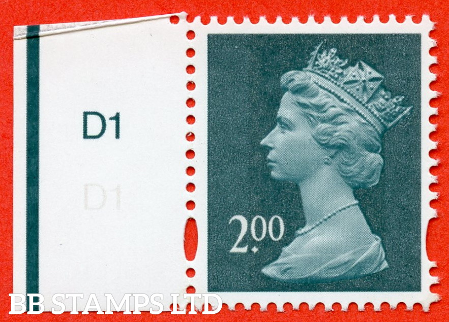 """SG. Y1747a. £2.00 deep blue green. A superb UNMOUNTED MINT cylinder """" D1 no dot """" example with the listed variety """" MISSING £ IN VALUE. Row 18/1. Cylinder D1 no stop """"."""