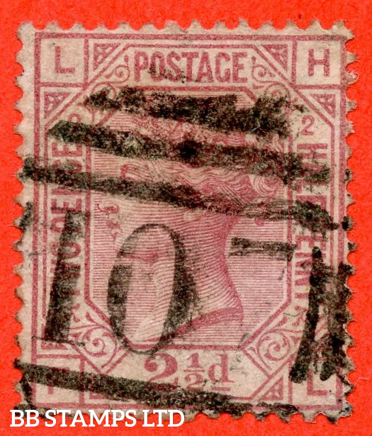 """SG. 140. J2 b. """" LH -- FL """". 2½d Rosy Mauve. Plate 2. """" ERROR OF LETTERING """". A good used example of this RARE Victorian variety."""