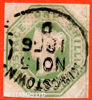 "SG. 54. H1 (1). 1/- Pale green. Die 2. A very fine "" November 15th 1856 KINGSTOWN "" part spoon cancel used example. A RARE stamp to find with this cancel."