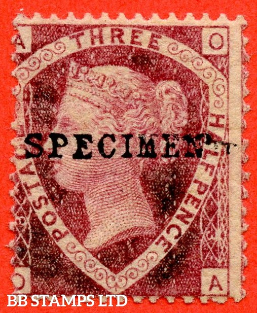 """SG. 51/52 sa. G6 u."""" OA """". 1½d rose red. Plate 3. A fine lightly mounted mint example overprinted SPECIMEN type 9."""