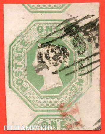 SG. 54. H1 (1). 1/- Pale green. Die 2. A fine used example with 4 large margins and showing parts of 2 adjoining stamps.