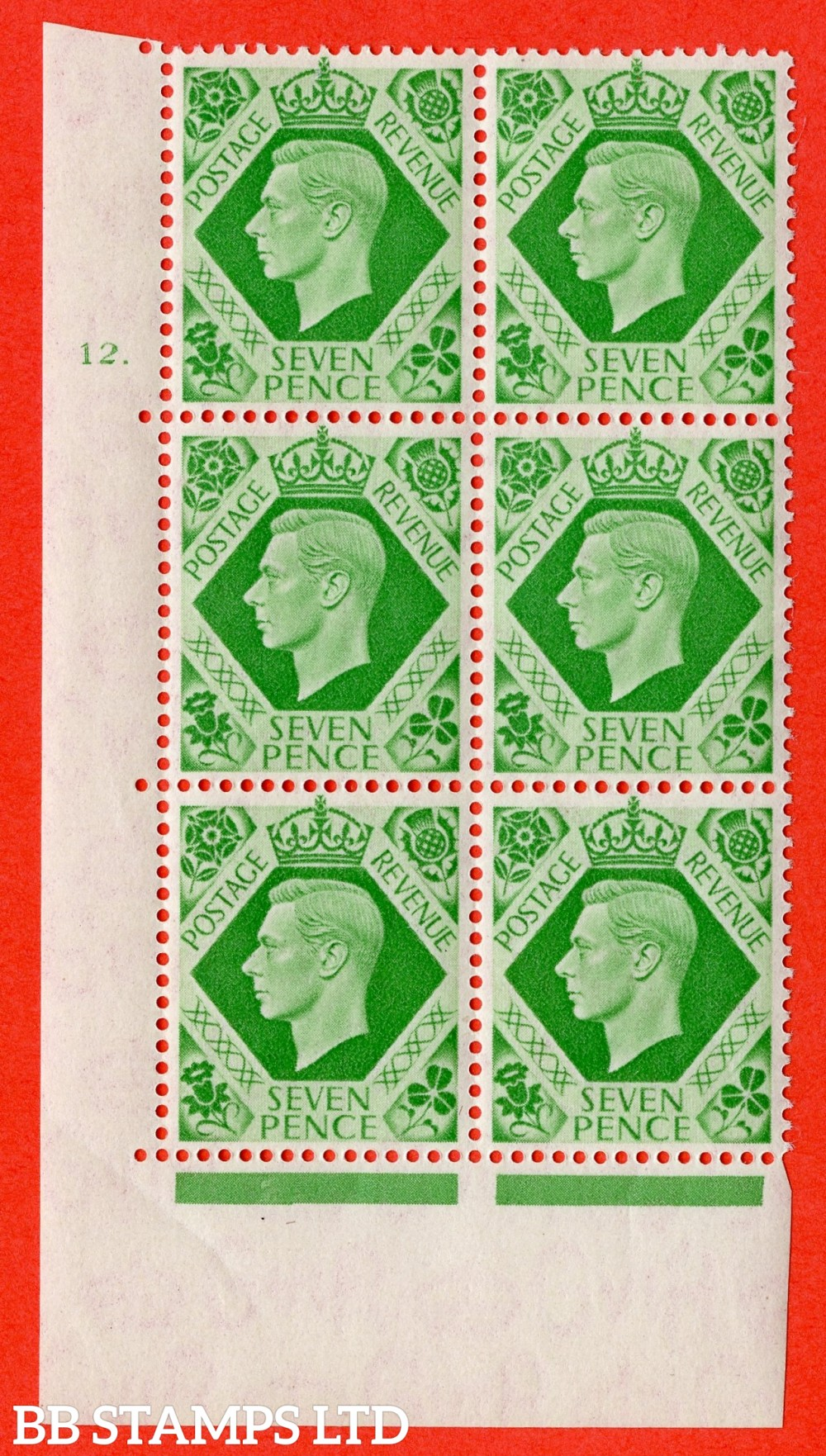 """SG. 471. Q23. 7d Emerald-Green. A superb UNMOUNTED MINT """" No Control cylinder 12 dot """" control block of 6 with perf type 5 E/I"""