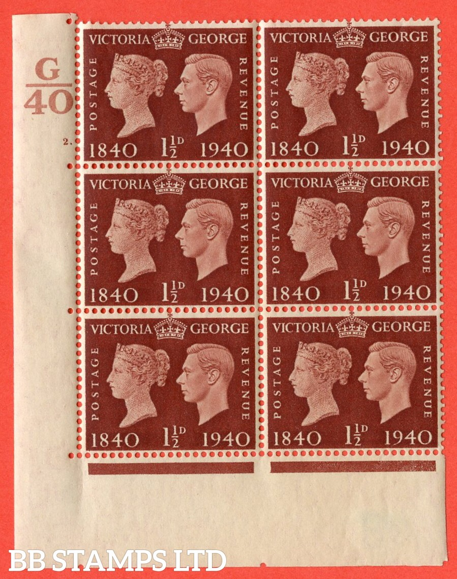 """SG. 481. QCom4. 1½d Red-Brown. A fine lightly mounted mint """" Control G40 cylinder 2 dot """" block of 6 with perf type 5 E/I"""