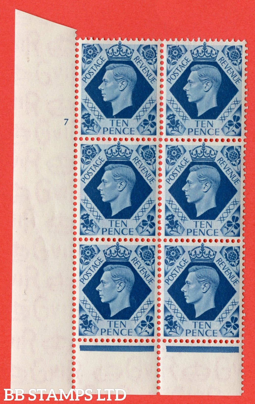 "SG. 474. Q26. 10d Turquoise-Blue. A superb UNMOUNTED MINT "" No Control cylinder 1 no dot "" control block of 6 with perf type 6 I/P."