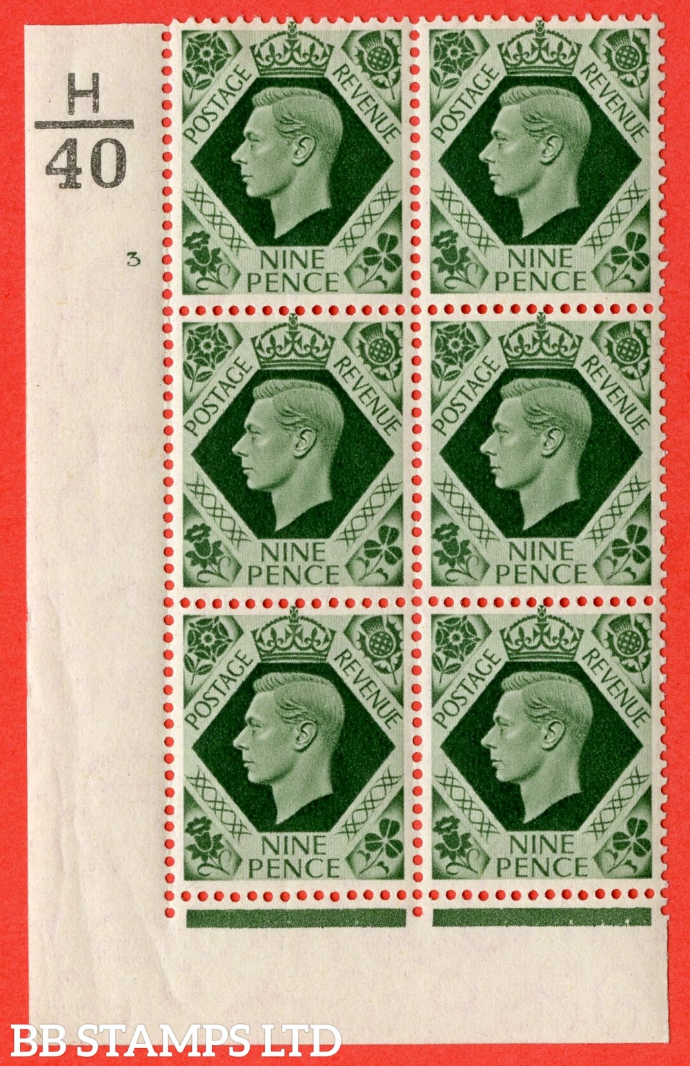 "SG. 473. Q25. 9d Olive-Green. A fine lightly mounted mint "" Control H40 cylinder 3 no dot "" control block of 6 with perf type 2 I/E."