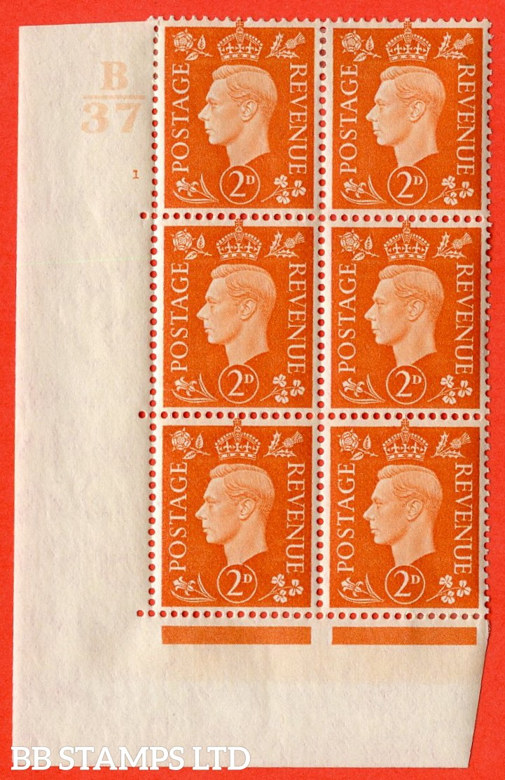 "SG. 465. Q10. 2d Orange. A very fine lightly mounted mint "" Control B37 cylinder 1 no dot "" control block of 6 with perf type 5 E/I."