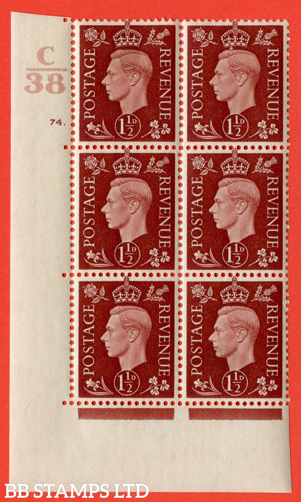 """SG. 464. Q7. 1½d Red-Brown. A fine lightly mounted mint """" Control C38 cylinder 74 dot """" control block of 6 with perf type 5 E/I. with marginal rule."""