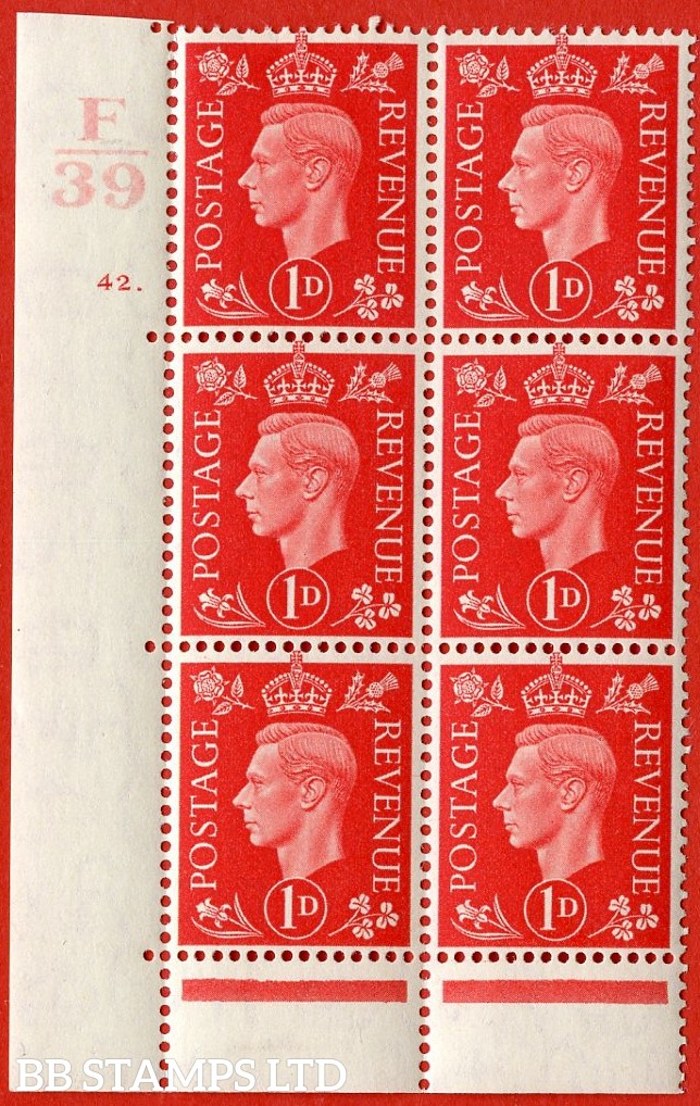 "SG. 463. Q4. 1d Scarlet. A very fine lightly mounted mint "" Control F39 cylinder 42 dot "" block of 6 with perf type 6B E/P with marginal rule."