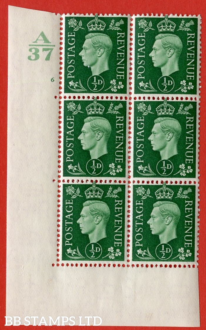 "SG. 462. Q1. ½d Green. A very fine lightly mounted mint "" Control A37 cylinder 6 no dot "" block of 6 with perf type 5 E/I without marginal rule."