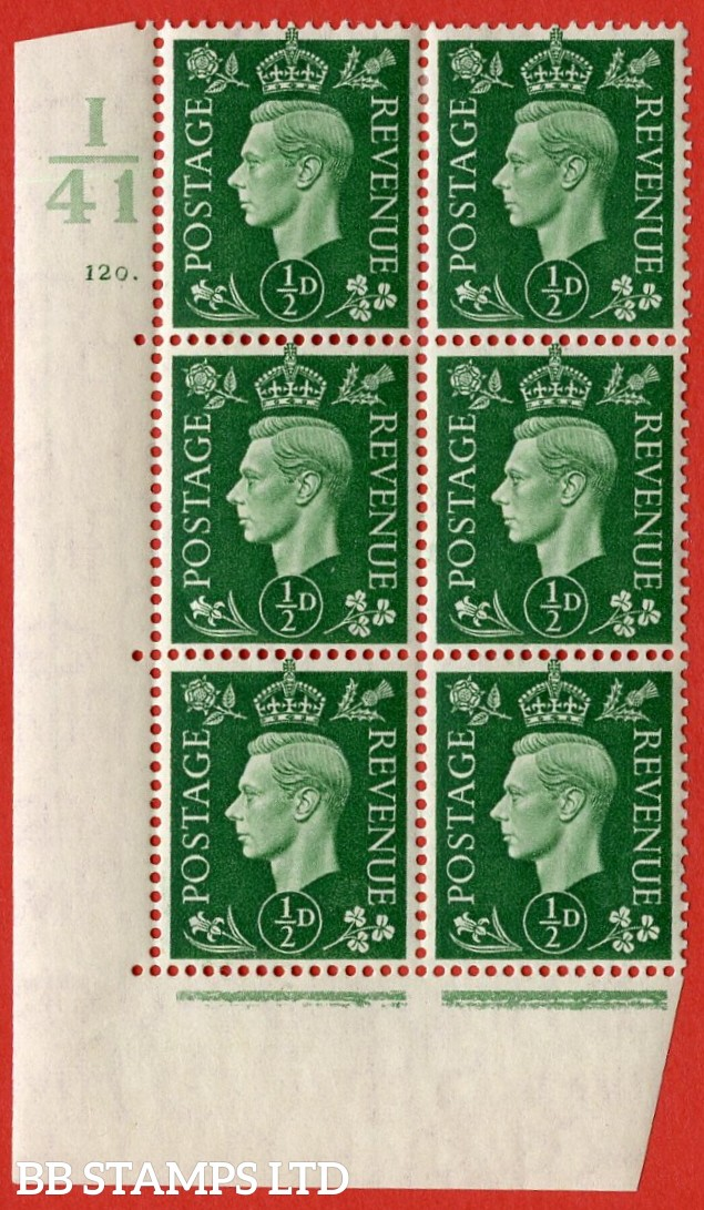 "SG. 462. Q1. ½d Green. A very fine lightly mounted mint "" Control I41 cylinder 120 dot "" block of 6 with perf type 5 E/I with marginal rule."