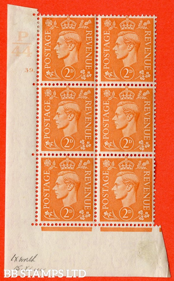 """SG. 488. Q11. 2d Pale Orange. A superb UNMOUNTED MINT """" Control P44 cylinder 39 dot """" control block of 6 with perf type 5 E/I."""