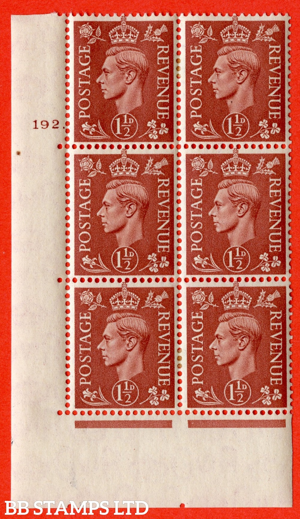 "SG. 487. Q8. 1½d Pale Red-Brown. A fine lightly mounted mint "" No Control cylinder 192 no dot "" control block of 6 with perf type 5 E/I."