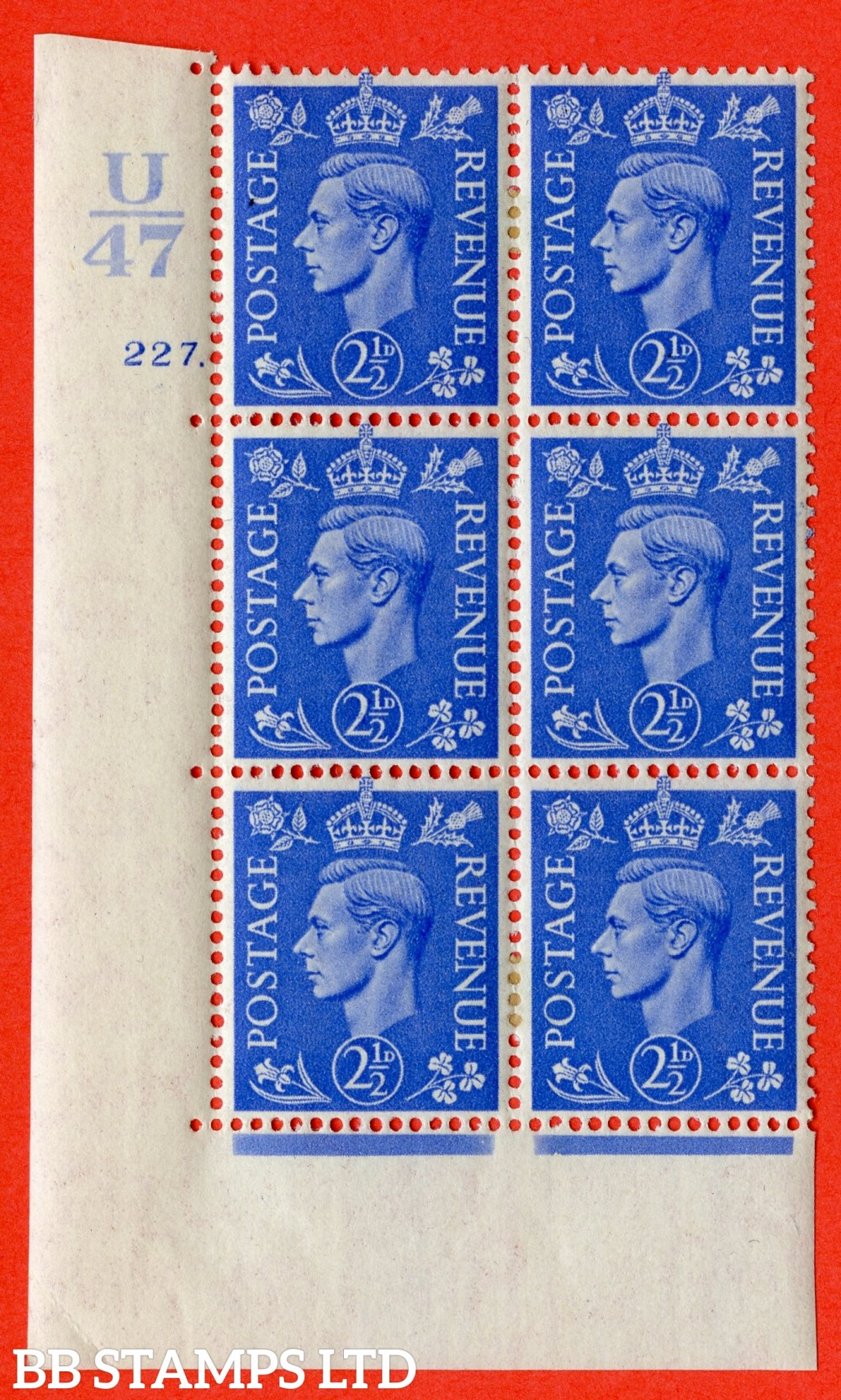 """SG. 489. Q14. 2½d Light ultramarine. A very fine lightly mounted mint """"  Control U47 cylinder 227 dot """" control block of 6 with perf type 5 E/I."""