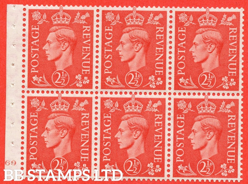 "SG. 507 c. QB34. 2½d pale scarlet. A fine UNMOUNTED MINT cylinder "" J69 no dot "" booklet pane of 6. Perf type B3(I)."