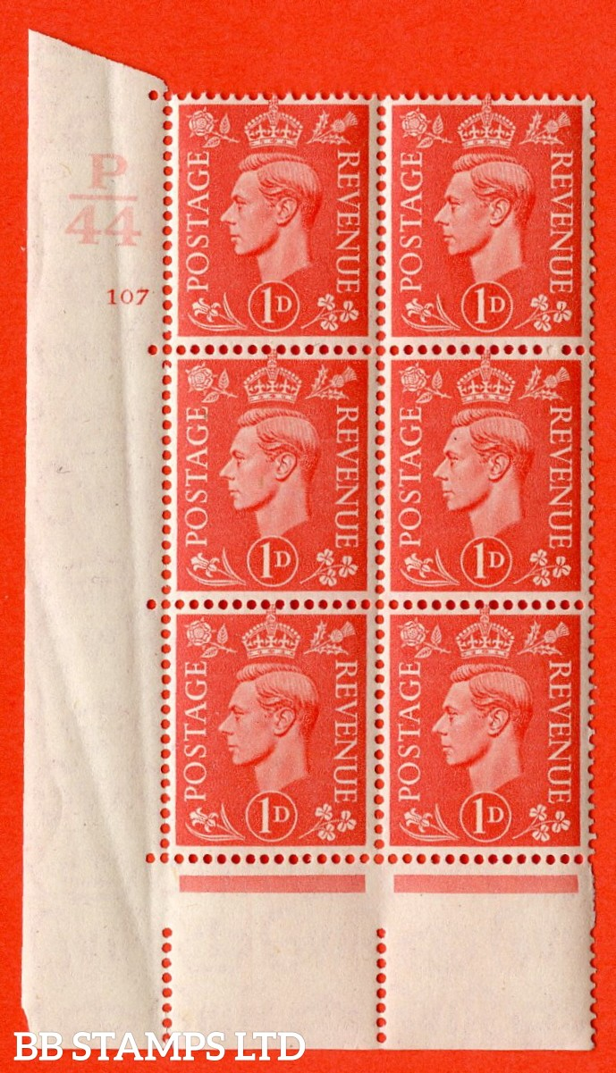 "SG. 486. Q5. 1d Pale scarlet. A superb UNMOUNTED MINT ""  Control P44 cylinder 107 no dot "" control block of 6 with perf type 5 E/I. Creased in margin"