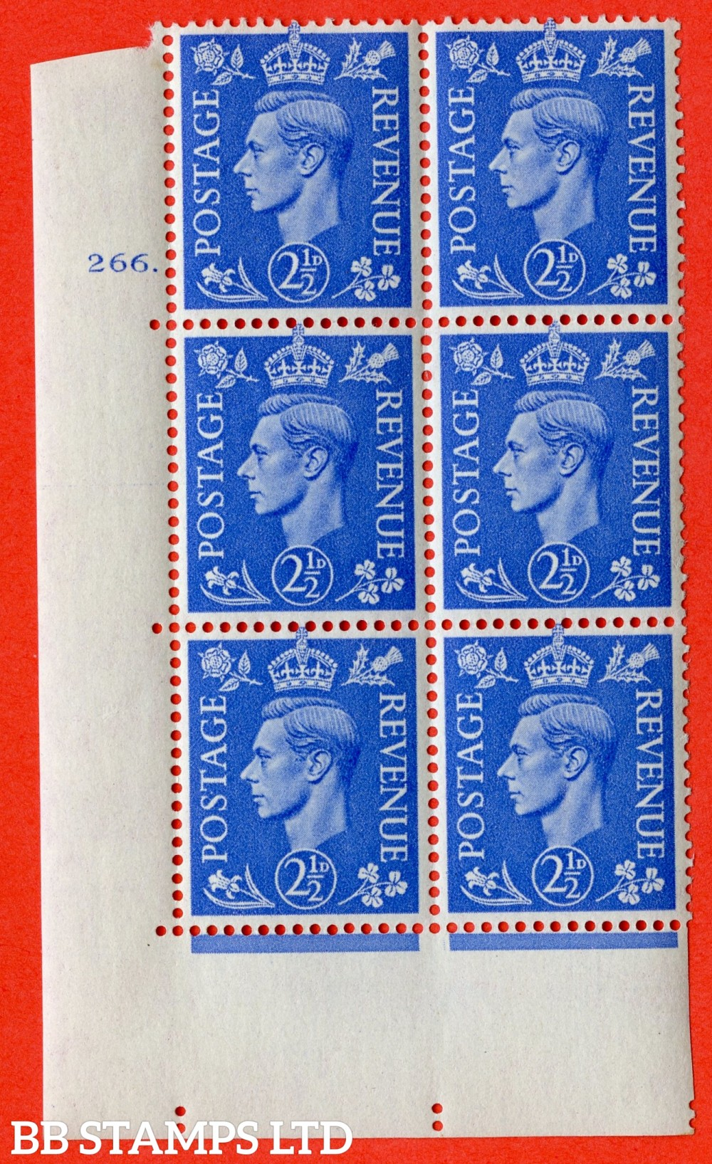 "SG. 489. Q14. 2½d Light ultramarine. A superb UNMOUNTED MINT ""  No Control cylinder 266 dot "" control block of 6 with perf type 5 E/I."